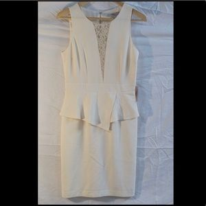 NWT ivory peplum cocktail dress